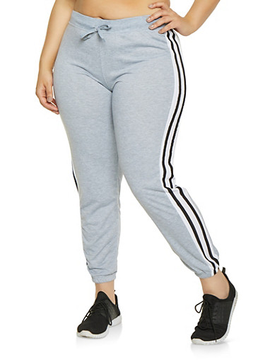 b637631ec48 Plus Size Varsity Stripe Sweatpants - Rainbow