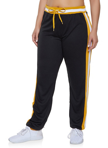 Plus Size Side Stripe Detail Sweatpants,BLACK,large