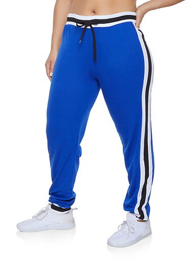 Plus Size Side Stripe Detail Sweatpants,RYL BLUE,large