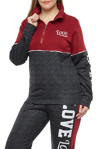 Plus Size Love Embroidered Zip Sweatshirt,CHARCOAL,large