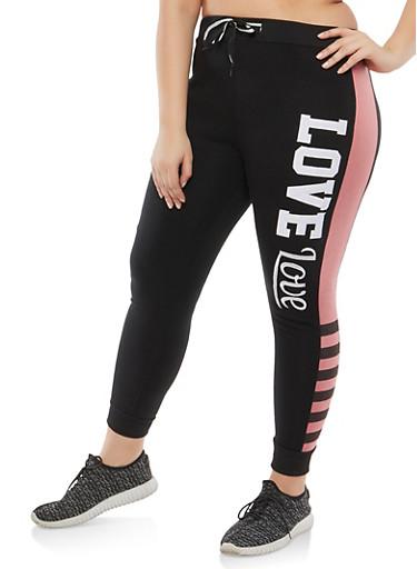 Plus Size Love Graphic Sweatpants,MAUVE,large