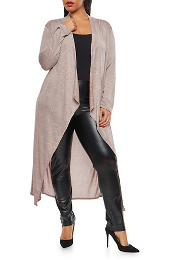 Plus Size Drape Front Duster,BLUSH,large