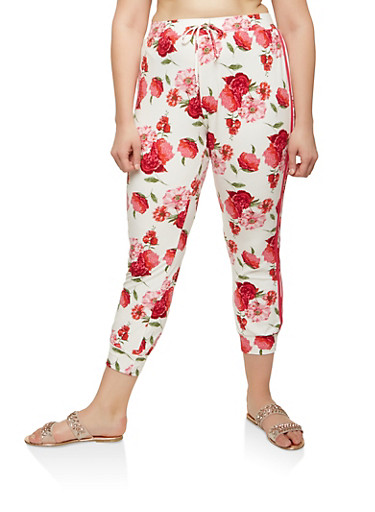 Plus Size Floral Soft Knit Joggers,IVORY,large