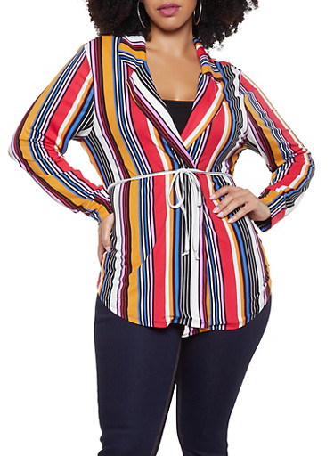 Plus Size Striped Soft Knit Cardigan,RED,large