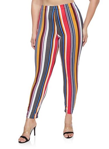 Plus Size Striped Soft Knit Pants,RED,large