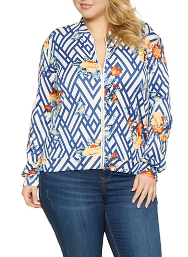 Plus Size Printed Track Jacket,BLUE,large