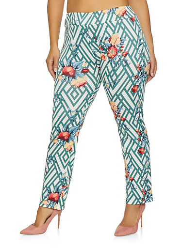 Plus Size Printed Scuba Pants,GREEN,large