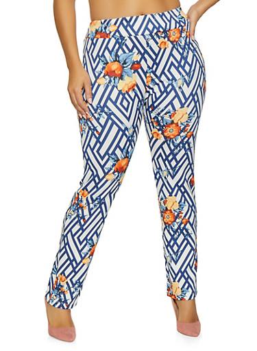 Plus Size Printed Scuba Pants,BLUE,large