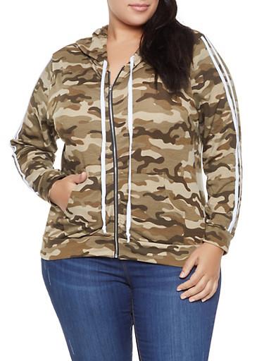 Plus Size Camo Zip Up Sweatshirt,GREEN,large
