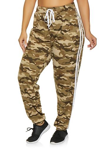 Plus Size Varsity Stripe Camo Joggers,GREEN,large