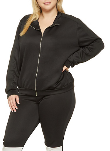 Plus Size Knit Trim Track Jacket,BLACK,large