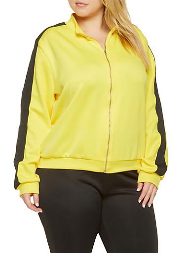 Plus Size Knit Trim Track Jacket,YELLOW,large