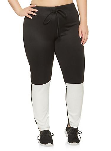 Plus Size Color Block Active Pants,BLACK,large