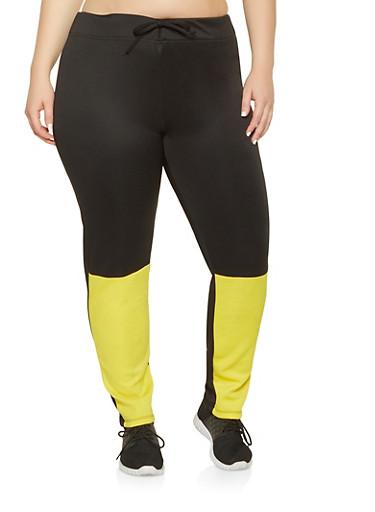 Plus Size Color Block Active Pants,YELLOW,large