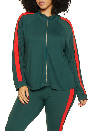 Plus Size Striped Tape Trim Track Jacket,HUNTER,large