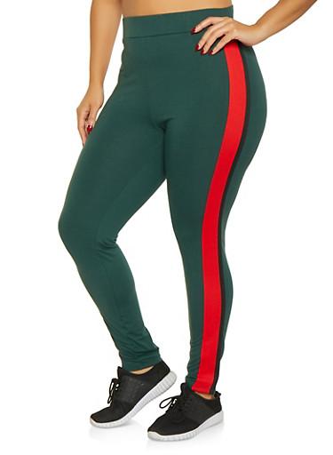 Plus Size Side Stripe Leggings,HUNTER,large