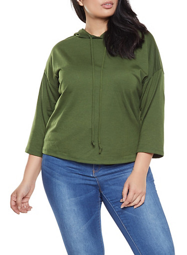 Plus Size French Terry Sweatshirt,OLIVE,large