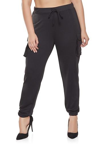 Plus Size Cargo Sweatpants,BLACK,large
