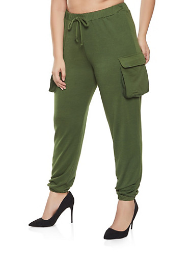Plus Size Cargo Sweatpants,OLIVE,large