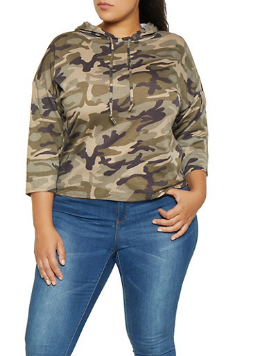 Plus Size Hooded Camo Sweatshirt,OLIVE,large