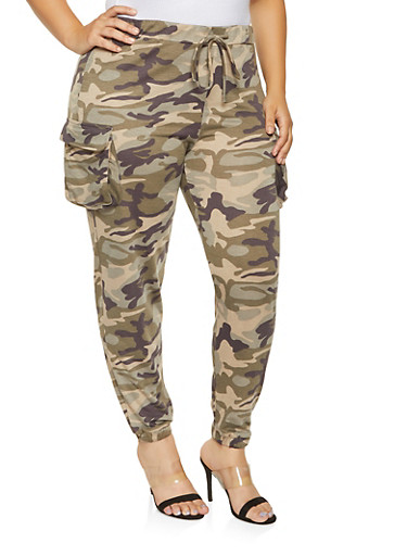 Plus Size Camo Cargo Sweatpants,OLIVE,large