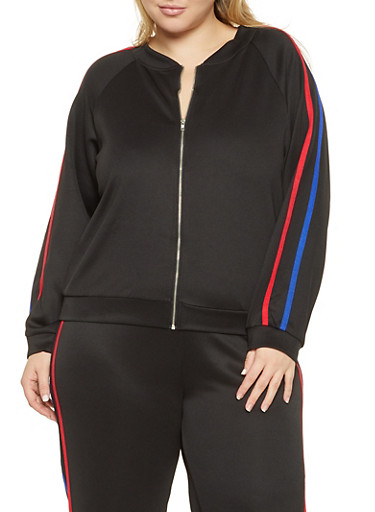 Plus Size Varsity Stripe Track Jacket,BLACK,large