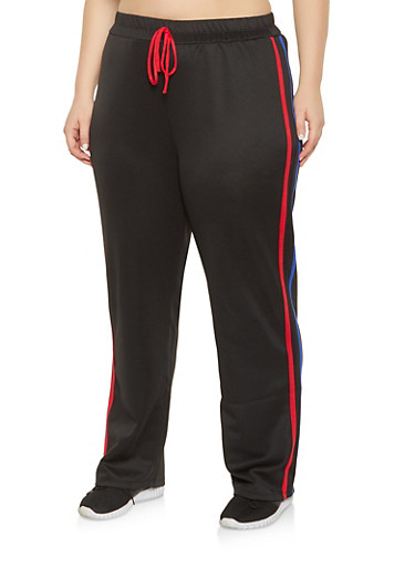Plus Size Varsity Stripe Track Pants,BLACK,large