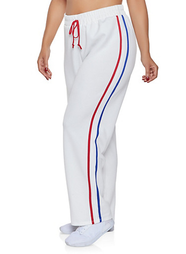 Plus Size Varsity Stripe Track Pants,WHITE,large