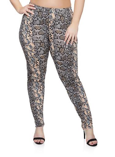 Plus Size Snake Print Pants,BLACK,large
