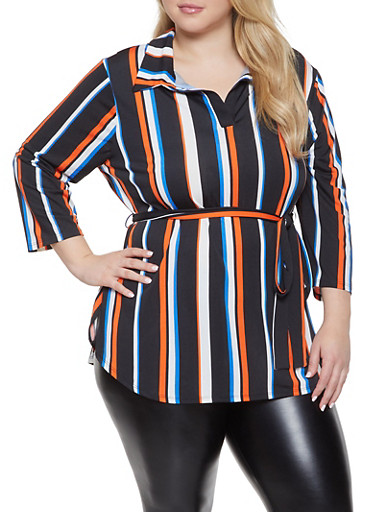 Plus Size Striped Tie Waist Top,BLACK,large