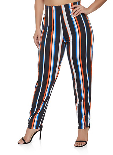 Plus Size Striped Casual Pants,BLACK,large
