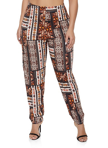 Plus Size Printed Casual Pants,BLACK,large