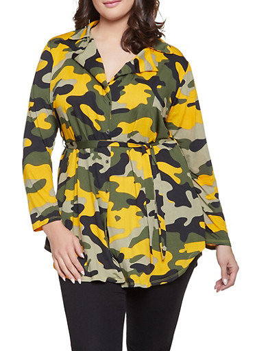Plus Size Camo Tie Waist Shirt,MUSTARD,large