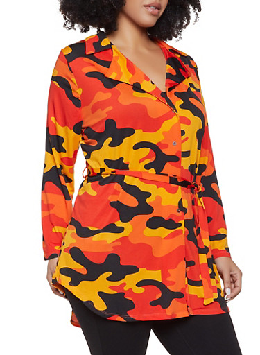 Plus Size Camo Tie Waist Shirt,ORANGE,large