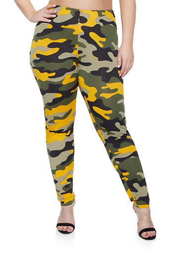 Plus Size Camo Pants,MUSTARD,large