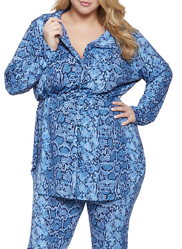Plus Size Belted Snake Print Tunic Shirt,NAVY,large