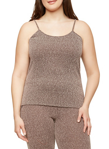Plus Size Ribbed Knit Tank Top,MOCHA,large