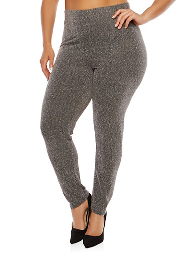 Plus Size Ribbed Knit Leggings,NAVY,large