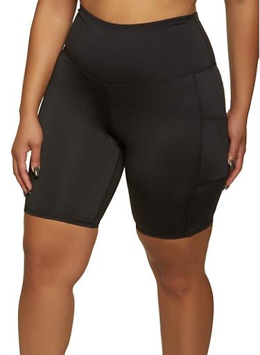 Plus Size 2 Pocket Bike Shorts,BLACK,large