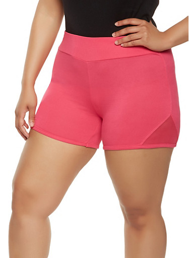 Plus Size Mesh Insert Bike Shorts,FUCHSIA,large