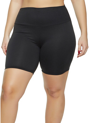 Plus Size Solid Soft Knit Bike Shorts,BLACK,large