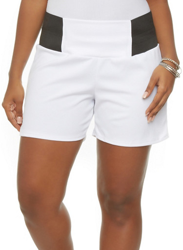 Plus Size Solid High Waist Shorts,WHITE,large