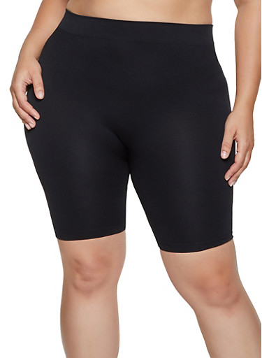 Plus Size Solid Bike Shorts,BLACK,large