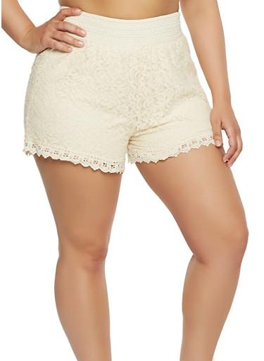 Plus Size Lace Shorts,IVORY,large