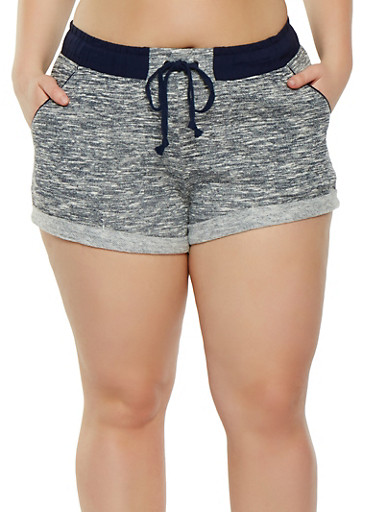 Plus Size French Terry Shorts,NAVY,large