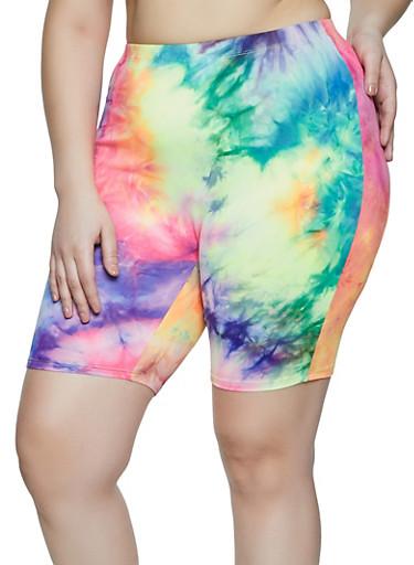 Plus Size Tie Dye Multi Color Bike Shorts,PURPLE,large