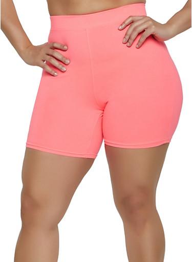Plus Size Soft Knit Bike Shorts | 1960060581250,PINK,large