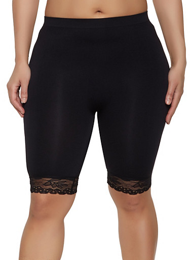 Plus Size Lace Trim Bike Shorts,BLACK,large