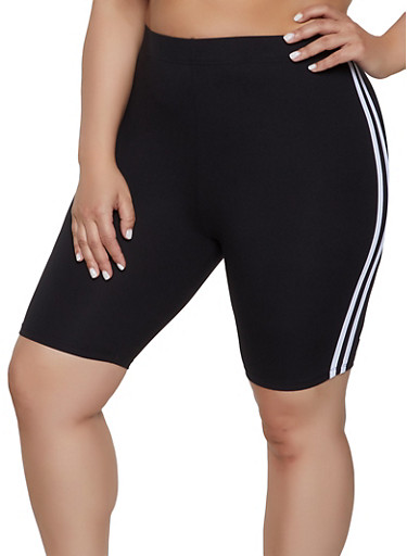 Plus Size Soft Knit Varsity Stripe Bike Shorts,BLACK,large