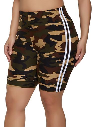 Plus Size Camo Varsity Stripe Shorts,HUNTER,large